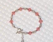 UTERINE Cancer Bracelet - PEACH - Swarovski Crystal & Sterling Silver