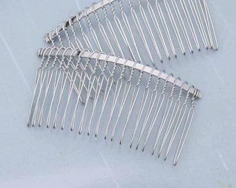 Hair combs 50 pcs Shiny Silver Metal Hair Combs (20 teeth) 76x38mm