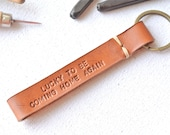 Personalized Fob Leather KeyChain . Hand-stitched stamped . thick leather