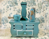 1950s Enesco Wooden Stove Salt and Pepper Shakers in Teal Wood