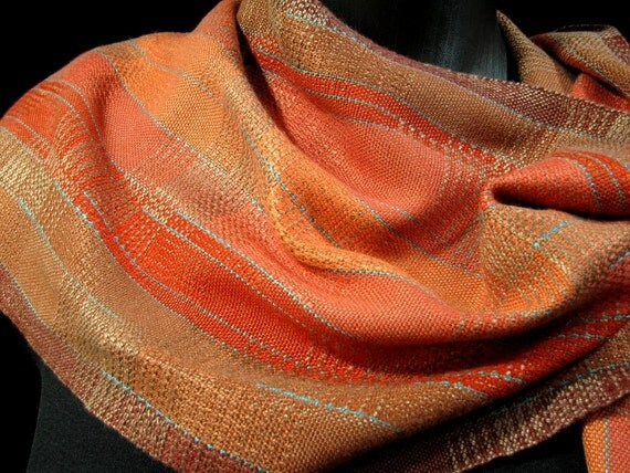 Apricot Handwoven Scarf, Bamboo Designer Scarf, Loom Weaving