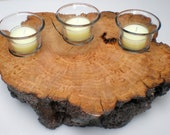 Natural Edge Cherry Burl Wood Candle Holder