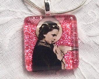 St. Maria Goretti glass pendant (in silver tray)
