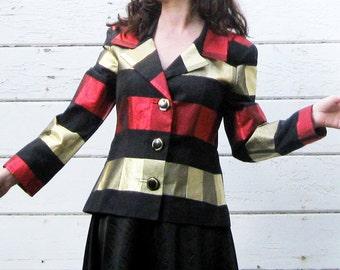 80s Rickie Freeman Bergdorf Goodman metallic red gold black designer evening jacket