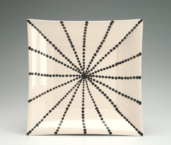 "Modern Lines and Dots 7-1/8"" Square Plate in Black Hand Painted"