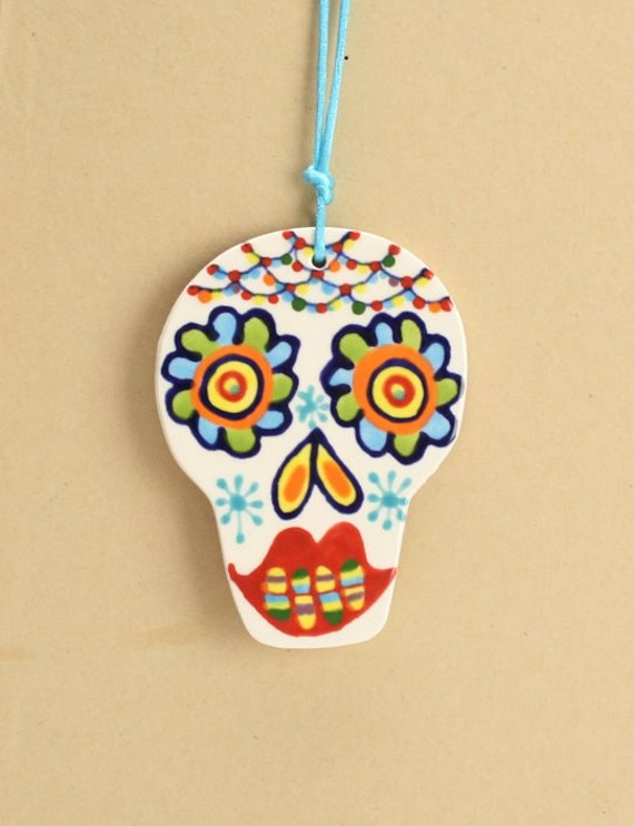 Two-Sided Ceramic Ornament Sugar Skull Two Sided Hand Painted Day of the Dead