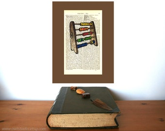 Abacus Colorful Nursery Art Print on Antique 1896 Dictionary Book Page