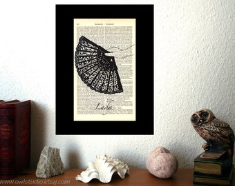Victorian Lady Art Print on Antique 1896 Dictionary Book Page