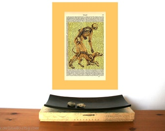 Man and Dog Skeleton Vintage Art Print on Antique 1896 Dictionary Book Page
