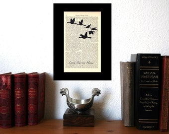 Long Journey Home Migration Birds Art Print on Antique 1896 Dictionary Book Page
