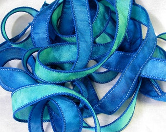 Hand Dyed Silk Ribbons - Hand Painted Jewelry Bracelet Wrap - Quintessence - Blue Lagoon
