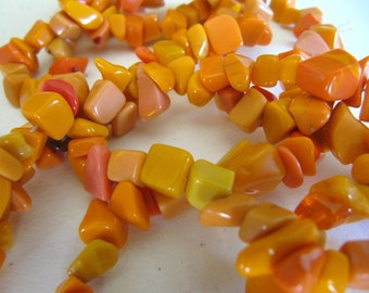 Shell Chip Beads in Orange, Nugget Beads, Gemstone Beads, Pebbles, 1 Strand, 33 inches