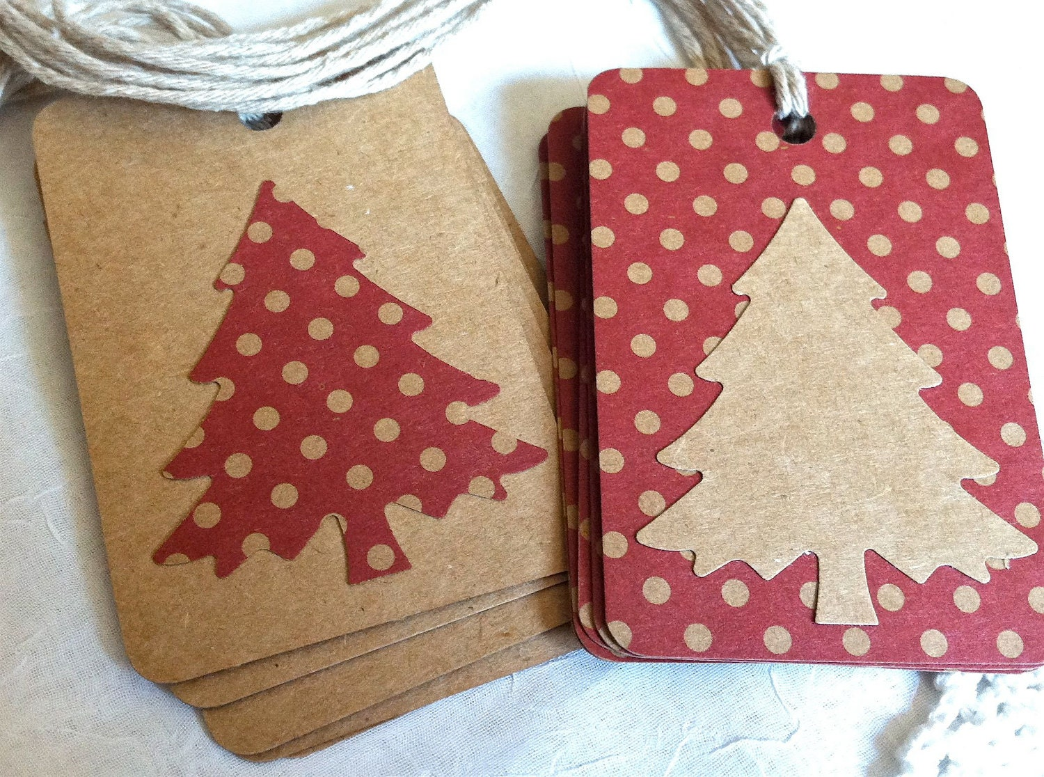 Christmas Tags: Country Red Brown Kraft Paper Christmas Tags Polka Dots