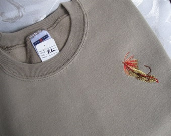 Fly Fishing themed Khaki Sweatshirt - Medium