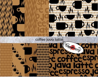 Coffee Java Latte: Digital Scrapbook Paper Pack (300 dpi) 10 digital papers ACEO Collage Art Mixed Media