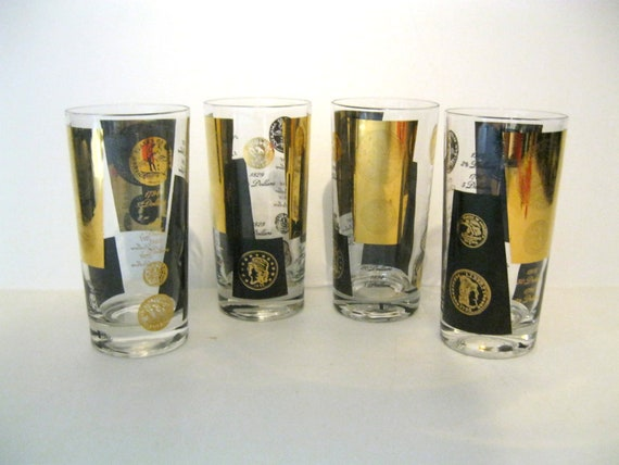 Vintage Gold and Black Coin Glasses by Cera - Set of Four