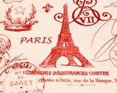 SALE  Home Dec Fabric Yardage - French Stamps -French Script - Primary Red and Natural - 1 Yard