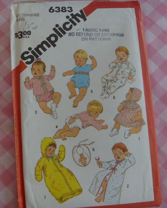 UNCUT Vintage 1983 Simplicity Pattern 6383..Babies and Infants Layette..Transfer for Applique Included..Size Newborn
