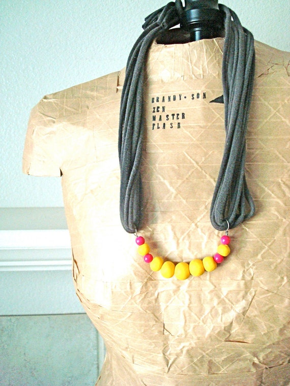 Yellow & Pink Beaded Jersey Necklace, handmade by brandy-son Zen master flash