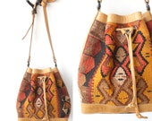 RESERVED for Laurens85...Vintage KILIM Turkish Woven Bucket Bag