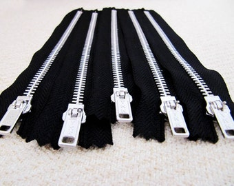 7inch - Black Metal Zipper - Silver Teeth - 5pcs
