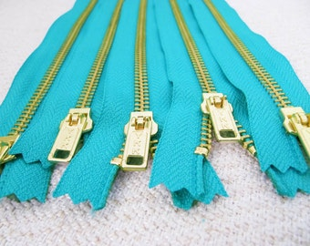 12inch - Turquoise Metal Zipper - Gold Teeth - 5pcs