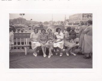 Vintage Photo - Ladies on the Boardwalk - Vintage Photograph, Vernacular, Found Photo  (WW)