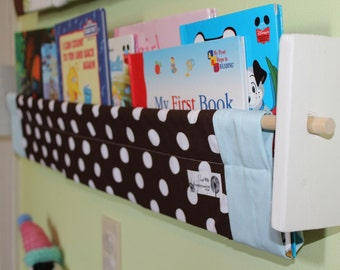 Nursery Book Storage -  Blue Brown White dot Childrens' Kids book sling storage shelf gender neutral nursery decor