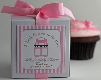 A Little Cupcake in the Oven...One Dozen Personalized Cupcake Mix Baby Shower Favors