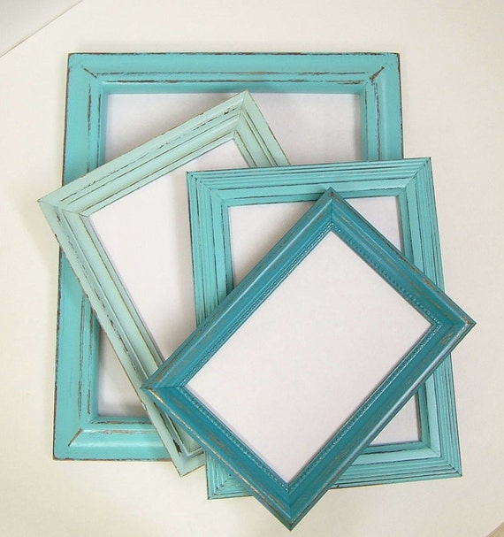 Shabby Chic Picture Frames Set Aqua Turquoise Shabby Chic Home Beach Wedding Decor