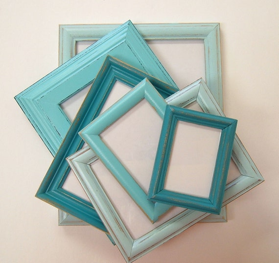 Shabby Chic Picture Frames Set Aqua Turquoise Shabby Chic Home Decor Beach Wedding Decor