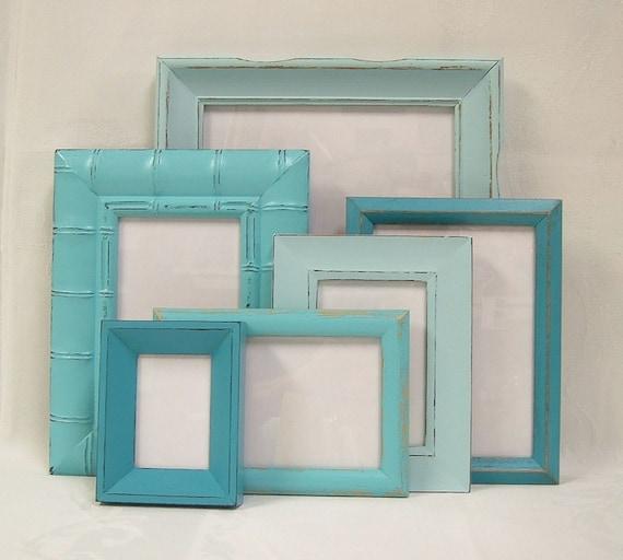 Shabby Chic Picture Frames Set Aqua Turquoise Shabby Chic Home Decor Beach Wedding Decor