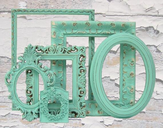 Shabby Chic Picture Frames Set Aqua Turquoise Shabby Chic Home Beach Wedding Decor