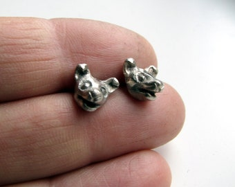 Dog earrings white bronze & surgical steel