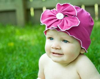 Pink Jersey Beanie Cotton Flower Hat