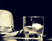 Man in the Afternoon - 8x10 Fine Art Photography - Vintage Straw Fedora Hat, Cocktail Hour, Scotch Glass