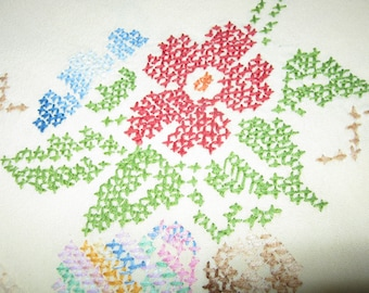 Mid Century Cotton Tablecloth/ Cross Stitched Embroidery/ Yellow Tablecloth/ Multicolored Flowers/ c.1960s  By Gatormom13