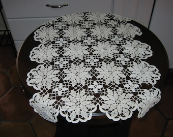 Crochet Vintage Doily  Ecru Colored/Hand Crochet Linens/ By Gatormom13 JUST REDUCED