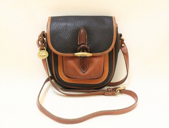 Dooney and Bourke Navy Pebble leather and Tan Color Leather Trim Cross Body Shoulder Bag