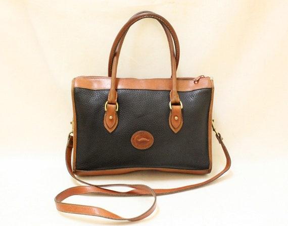 Dooney and Bourke Black Color Pebble Leather and Tan Color Leather Trim Shoulder Bag, Large Size , Cross Body Shoulder Bag.