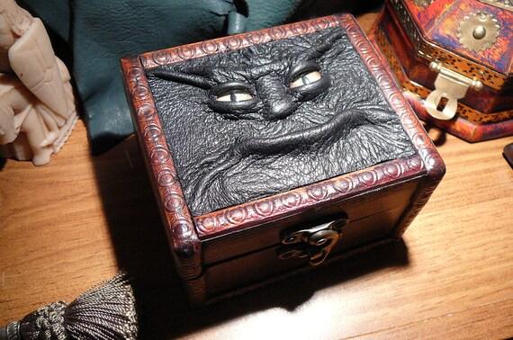 Monster Box: green eyed monster face on wooden box