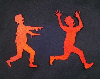 Zombie Chasing Victim Hanging Ornaments (Set of Two) - FREE SHIPPING - SALE
