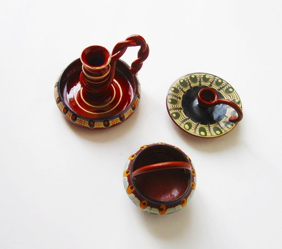 Hand Painted Troyan Ceramic Candlesticks and Trinket Dish from Bulgaria