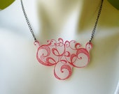 RED RIBBONS Hand-Painted Shrinkable Plastic Bib Necklace