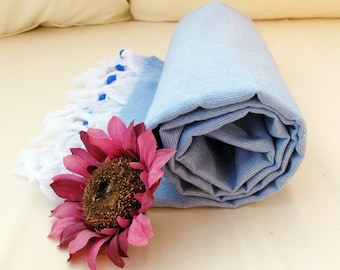 Blue Beach Towel-PESHTEMAL Bath Beach Towel -High Quality Cotton Turkish Bath,Beach,Spa,Yoga,Pool Towel