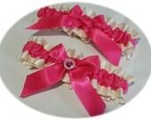 Hot pink and ivory garter set, Wedding Garter , hot pink and ivory, hot pink garter, crystal garter, pink crystal garter, pink garter,