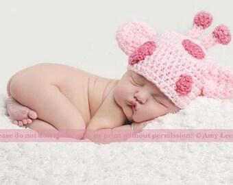Crochet Hat Giraffe Pink or Blue Photo Prop
