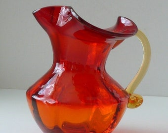 LARGE Ruby Red and Tangerine Ruffle Top Amberina Glass Pitcher