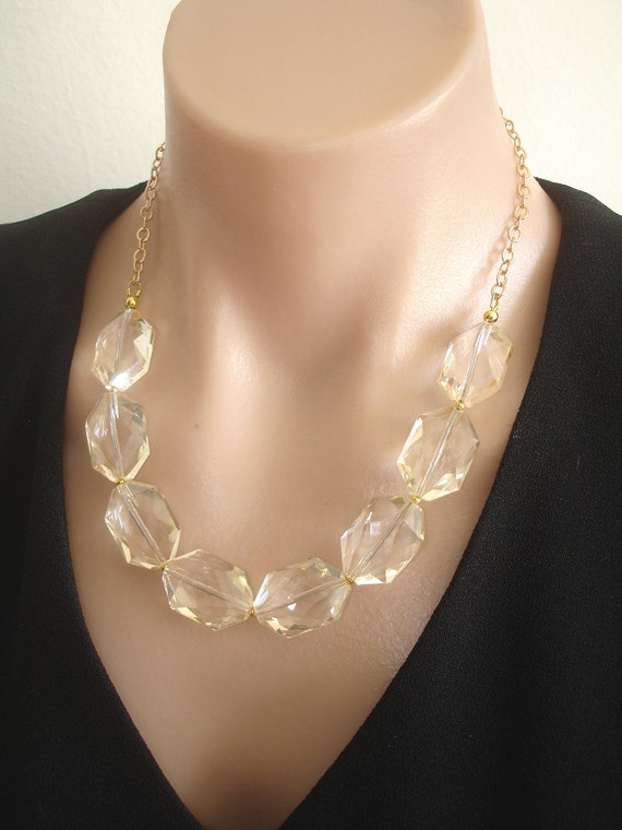 RESERVED:  Ashira Statement Necklace Rock Quartz Crystal in Champagne, Gold
