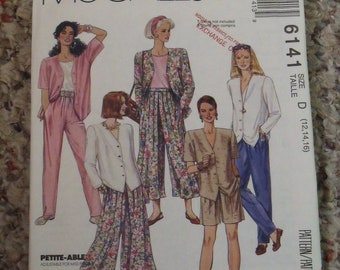 Vintage 1992 Misses Top and Split Skirt and Pants Sewing Pattern, McCall's 6141, Sizes 12, 14, 16, Uncut, Loose fit, Pull On, Mother's Day